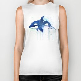 Killer Whale Orca Watercolor Biker Tank