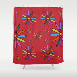 Flower Art in Multicolor - Red Shower Curtain