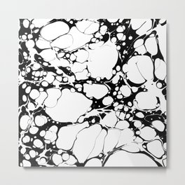 Black and White bubbles Spilled Ink Marbled Paper Metal Print
