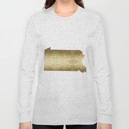 pennsylvania gold foil map Long Sleeve T-shirt