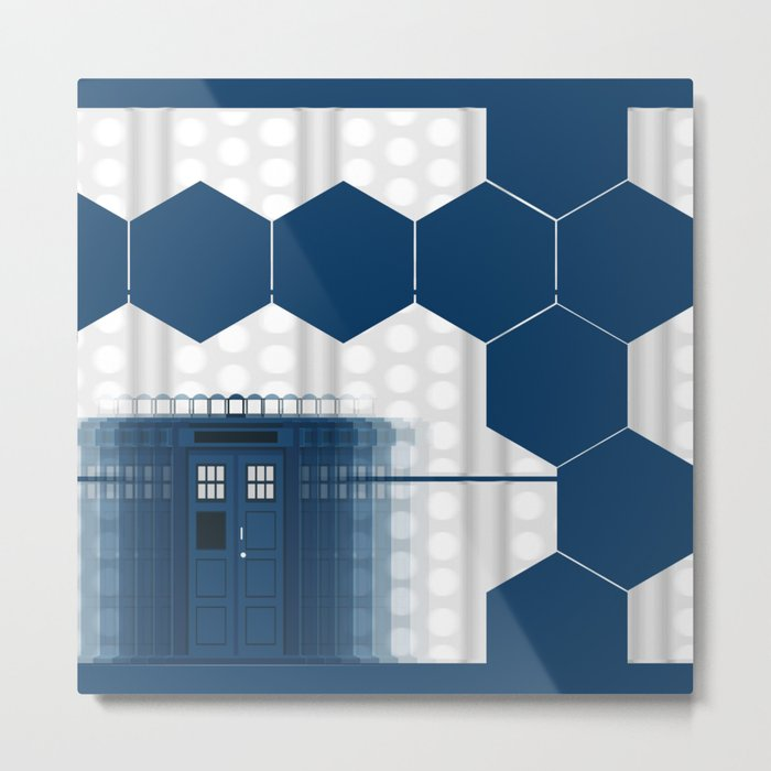Tardis Shadow Blue Box Metal Print