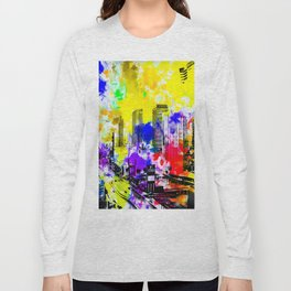 building of the hotel and casino at Las Vegas, USA with blue yellow red green purple painting abstra Long Sleeve T-shirt