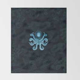 Octopus2 (Blue, Square) Throw Blanket