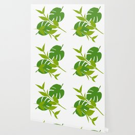 Simply Tropical Leaves with White background Wallpaper