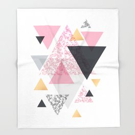 Multi Triangle - Rose Gold and Marble Throw Blanket