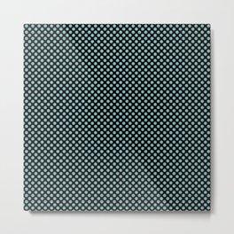 Black and Aqua Haze Polka Dots Metal Print