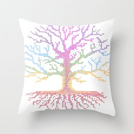 Rainbow Chakra Tree of Life - Real Stitch-able Color Coded Cross Stitch Chart Throw Pillow