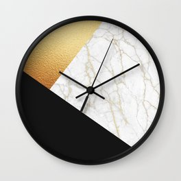 GOLDEN MARBLE TRIANGLE Wall Clock