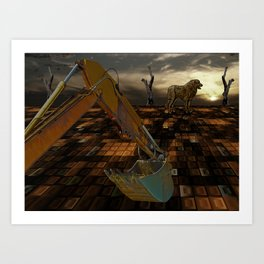 Working at dusk Art Print