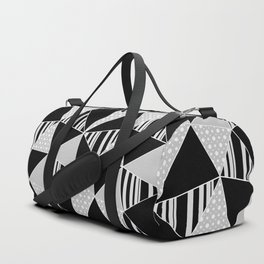 Black, gray polygonal geometric pattern. Duffle Bag