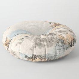 Autumn Birds Traditional Japanese Landscape Floor Pillow