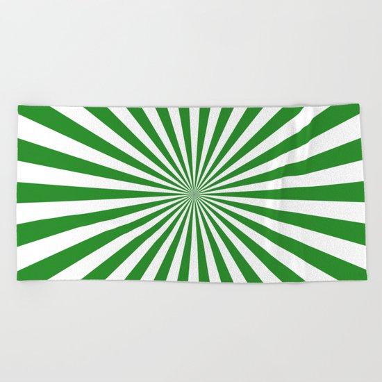 Starburst (Forest Green/White) Beach Towel
