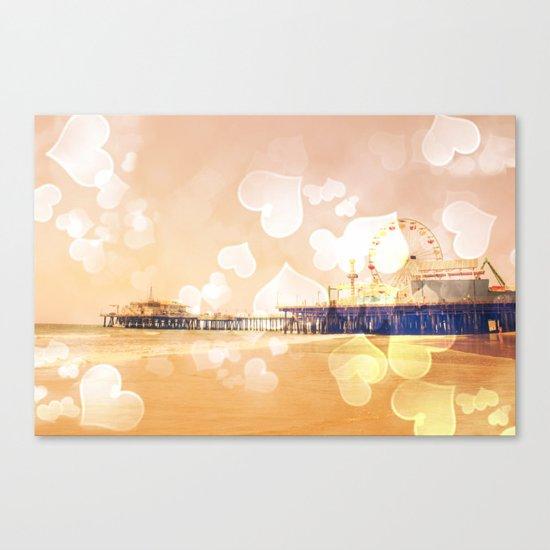 Bokeh Hearts Santa Monica Pier Canvas Print