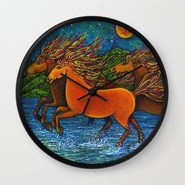 Wild Horses in the Moonlight Wall Clock