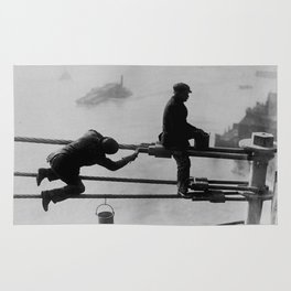 Brooklyn Bridge Painters Vintage Photograph (1915) Rug