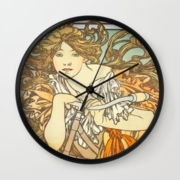 Cycles Perfecta by Alphonse Mucha, 1902 Wall Clock