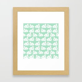 Swan minimal pattern print mint and white bird illustration swans nursery decor Framed Art Print