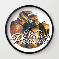 western Wall Clocks featuring Western Pleasure by Fallen Apple Designs