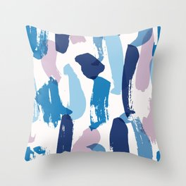 Blue and pink brushstrokes pattern Throw Pillow