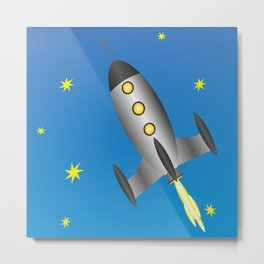 rocket spaceship space travel Metal Print