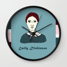 Emily Dickinson, hand-drawn portrait Wall Clock
