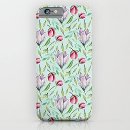 Pink green watercolor hand painted floral pattern iPhone Case