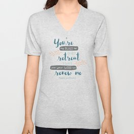 """Your Word Renews Me"" Hand-Lettered Bible Verse Unisex V-Neck"