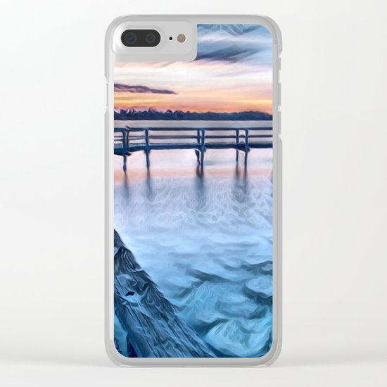 Dock on the River (Sunset) Clear iPhone Case