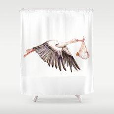 Baby on Bird Shower Curtain