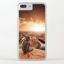 man on top of horse shoe bend Clear iPhone Case