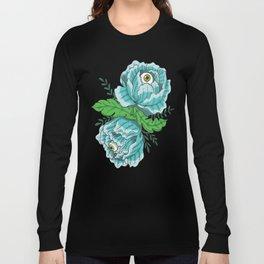 Spooky Blue Roses Long Sleeve T-shirt