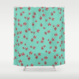 Peppermint Candy in Aqua Shower Curtain