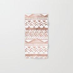 Faux rose gold handdrawn trendy tribal aztec pattern Hand & Bath Towel