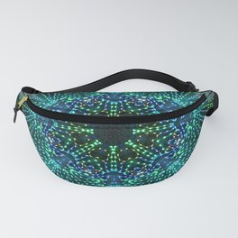 Kaleidoscope fantasy on lighted peacock shape Fanny Pack