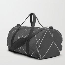 Silver Geometric on Black Marble Duffle Bag