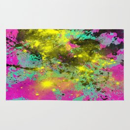 Stargazer - Abstract cyan, black, purple and yellow oil painting Rug