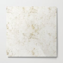White & Gold Marble Metal Print