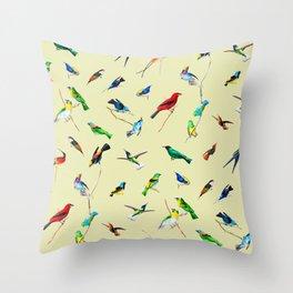 Yellow Birds Motif Throw Pillow