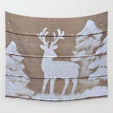 Wood slat deer in the snowy woods Wall Tapestry