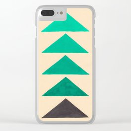 Colorful Turquoise Green Geometric Pattern with Black Accent Clear iPhone Case