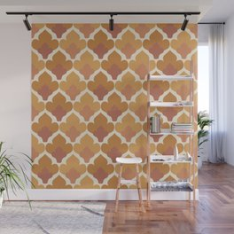 Orange Flower Pattern Wall Mural