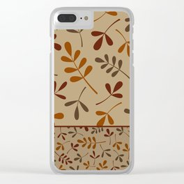 Fall Color Assorted Leaf Silhouettes II Clear iPhone Case