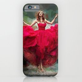 Lady in red portrait painting bedroom wall decor iPhone Case