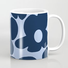 Large Dark Blue Retro Flowers Baby Blue Background #decor #society6 #buyart Coffee Mug
