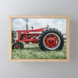 Vintage IH Farmall 450 Side View Red Tractor Framed Mini Art Print