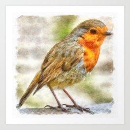 Christmas Robin Winter Watercolor Art Print