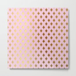 Queenlike- pink and gold elegant quatrefoil ornament pattern Metal Print