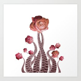 Floral Octopus Tentacles with Roses Art Print