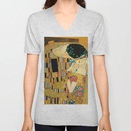 The Famous Kiss by Gustav Klimt Unisex V-Neck