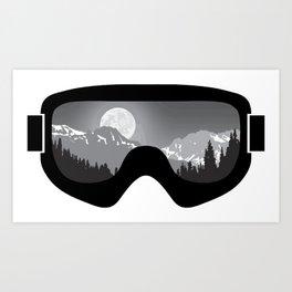 Moonrise Goggles - B+W - Black Frame | Goggle Designs | DopeyArt Art Print